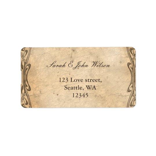 vintage wedding ,return address label