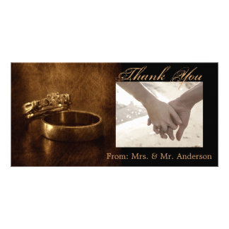 vintage wedding rings rustic engagement party customized photo card