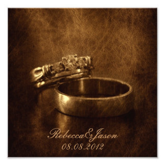 vintage wedding rings rustic engagement party photo print