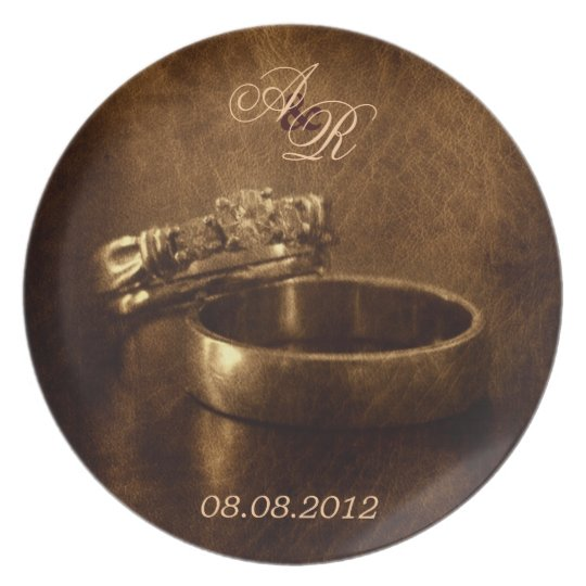 vintage wedding rings rustic engagement party plate