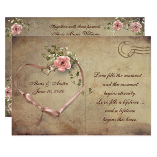Vintage Wedding Rose Postcard