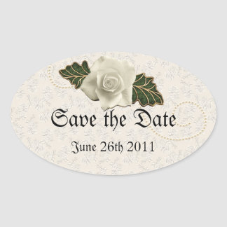 Vintage Wedding Rose Oval Sticker