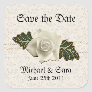 Vintage Wedding Rose Square Sticker