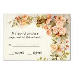Vintage Wedding RSVP, Antique Pink Roses Flowers 9 Cm X 13 Cm Invitation Card