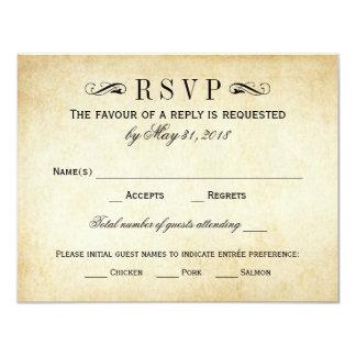 Vintage Wedding RSVP Cards | Elegant Flourish 11 Cm X 14 Cm Invitation Card