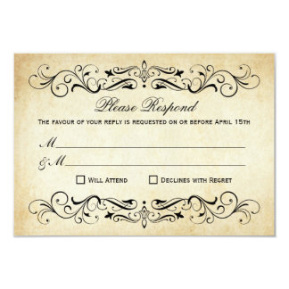 Vintage Wedding RSVP Cards | Elegant Flourish 9 Cm X 13 Cm Invitation Card
