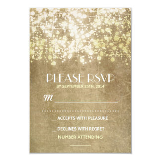vintage wedding RSVP cards with string lights 9 Cm X 13 Cm Invitation Card