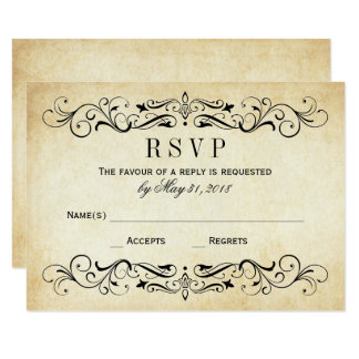 Vintage Wedding RSVP Postcards | Elegant Flourish 9 Cm X 13 Cm Invitation Card