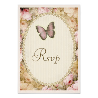 Vintage Wedding Rsvp Roses Butterfly, Music Notes 9 Cm X 13 Cm Invitation Card
