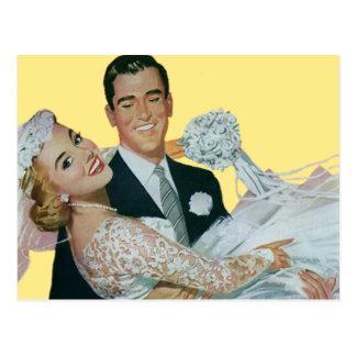 Vintage Wedding Save the Date! Bride and Groom Postcard