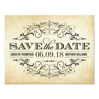 Vintage Wedding Save the Date | Elegant Flourish 11 Cm X 14 Cm Invitation Card