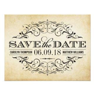 Vintage Wedding Save the Date | Elegant Flourish Personalized Invites