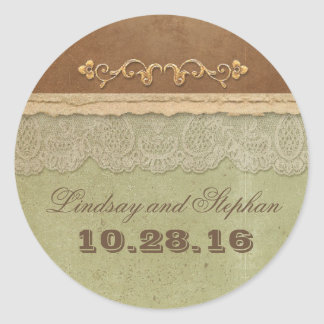 Vintage wedding sticker with rustic ivory lace