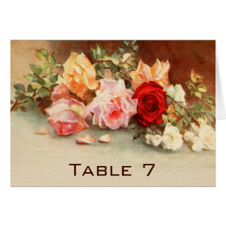 Vintage Wedding Table Number Antique Roses Flowers