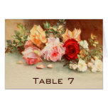 Vintage Wedding Table Number Antique Roses Flowers Note Card