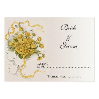 Vintage Wedding Table Numbers, Yellow Flowers Bees Pack Of Chubby Business Cards