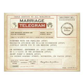 vintage WEDDING telegrams 11 Cm X 14 Cm Invitation Card