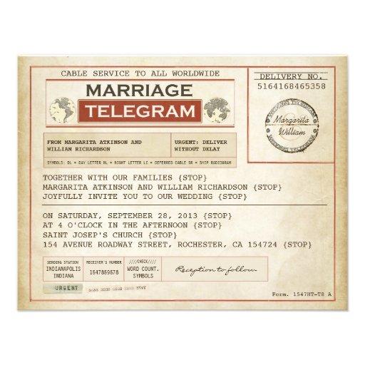 vintage WEDDING telegrams INVITATIONS