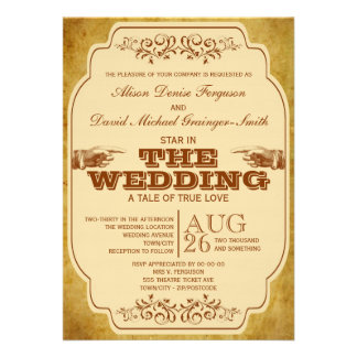 Vintage Wedding Theatre Production Invites