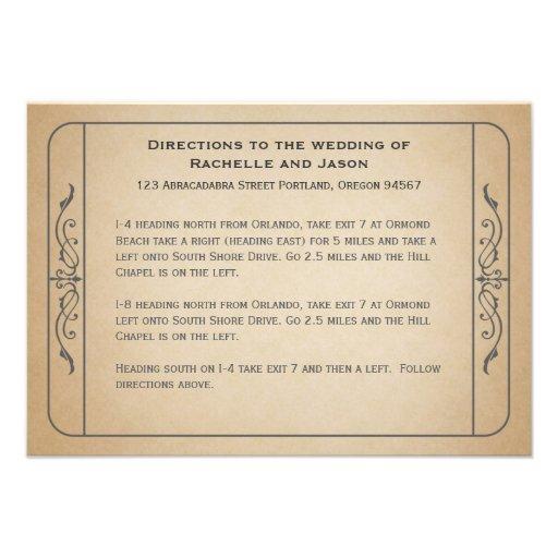 Vintage Wedding Ticket Driving Directions Invites