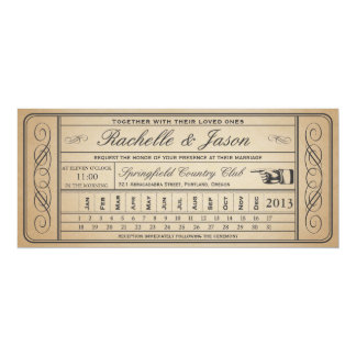 Vintage Wedding Ticket  II  Punchout Card