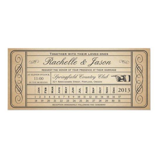 Vintage Wedding Ticket II Punchout Card