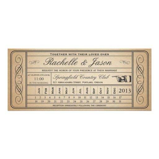 Vintage Wedding Ticket  II  Punchout Custom Announcements
