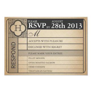 Vintage Wedding Ticket  III  Punchout 9 Cm X 13 Cm Invitation Card