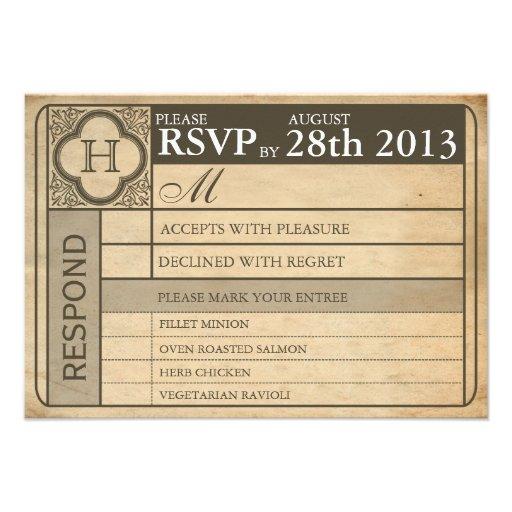 Vintage Wedding Ticket  III  Punchout Custom Invitation