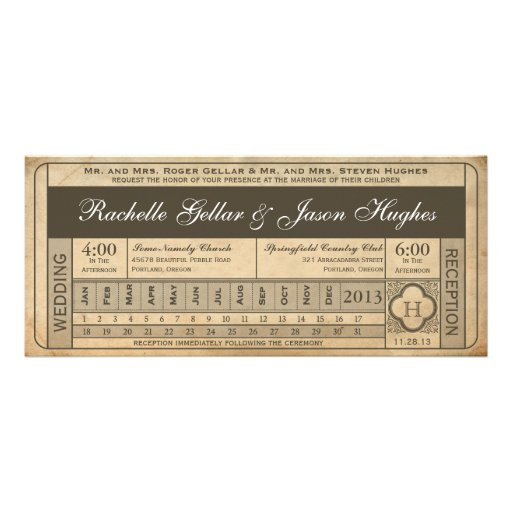 Vintage Wedding Ticket  III  Punchout Custom Invite