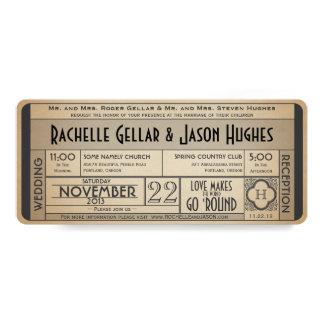Vintage Wedding Ticket Invitation IV -- 40s era II