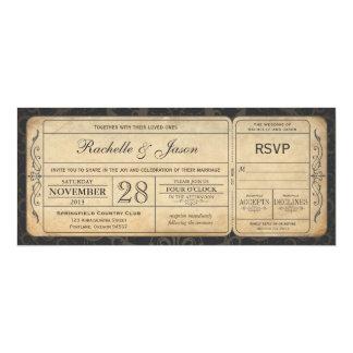Vintage Wedding Ticket  Invitation with RSVP 3.0