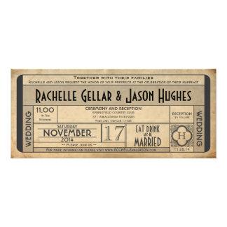 Vintage Wedding Ticket IV- 40 s era 2 0 Invitation