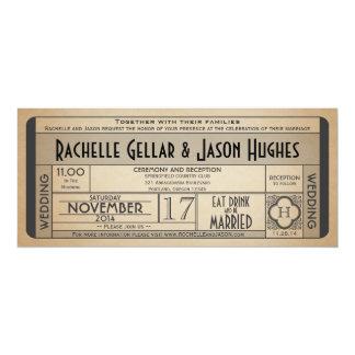 Vintage Wedding Ticket IV- 40's era 2.0 10 Cm X 24 Cm Invitation Card