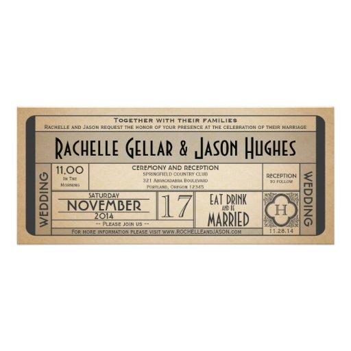 Vintage Wedding Ticket IV- 40's era 2.0 Custom Invitations