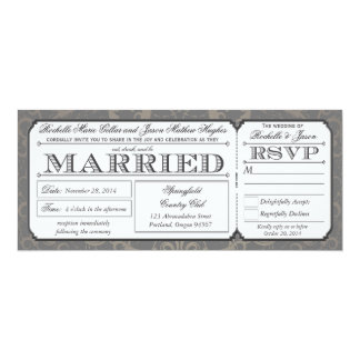 Vintage Wedding Ticket with RSVP collection III 10 Cm X 24 Cm Invitation Card
