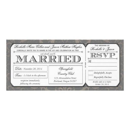 Vintage Wedding Ticket with RSVP collection III Personalized Invites