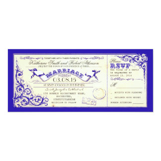 vintage wedding tickets & blue elegant flourishes card