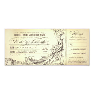 vintage wedding tickets - sophisticated flourishes card