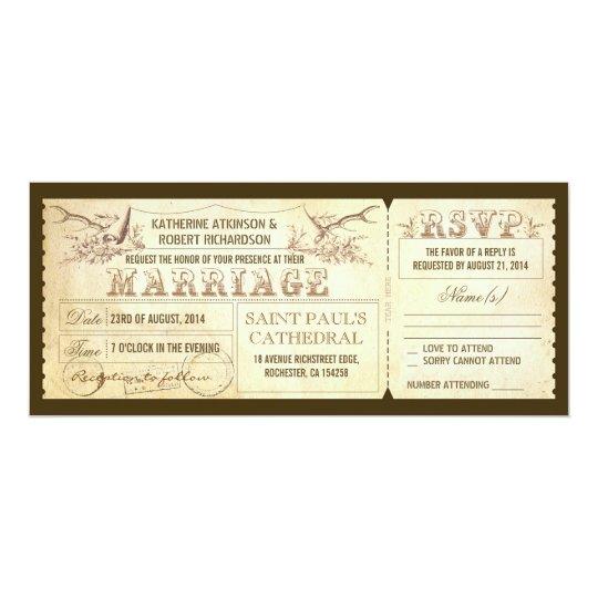 Vintage Wedding Tickets with Deer Antlers Card