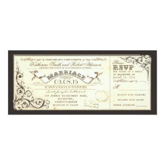 vintage wedding tickets with elegant flourishes 10 cm x 24 cm invitation card