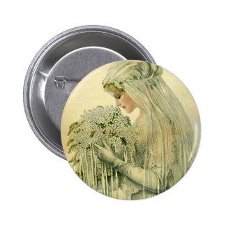 Vintage Wedding, Victorian Bride Bridal Portrait Pinback Buttons