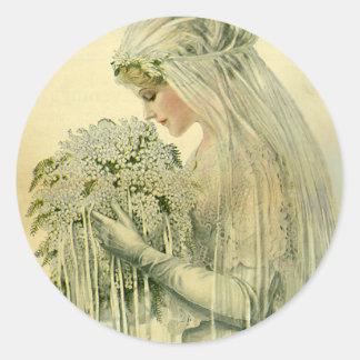 Vintage Wedding, Victorian Bride Bridal Portrait Classic Round Sticker