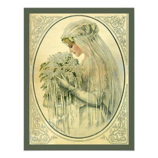 Vintage Wedding, Victorian Bride Bridal Portrait Custom Invitation