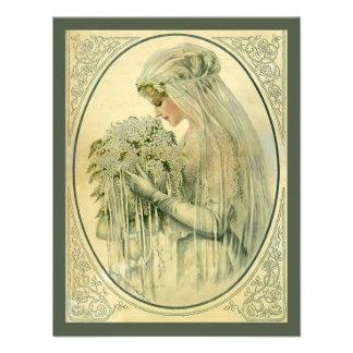 Vintage Wedding Victorian Bride Bridal Portrait Custom Invitation