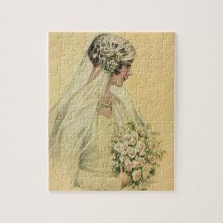 Vintage Wedding, Victorian Bride Bridal Portrait Jigsaw Puzzle