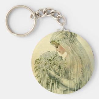 Vintage Wedding, Victorian Bride Bridal Portrait Key Chains