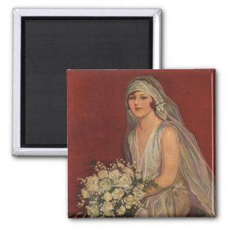 Vintage Wedding, Victorian Bride Bridal Portrait Square Magnet