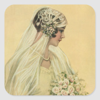 Vintage Wedding, Victorian Bride Bridal Portrait Square Sticker