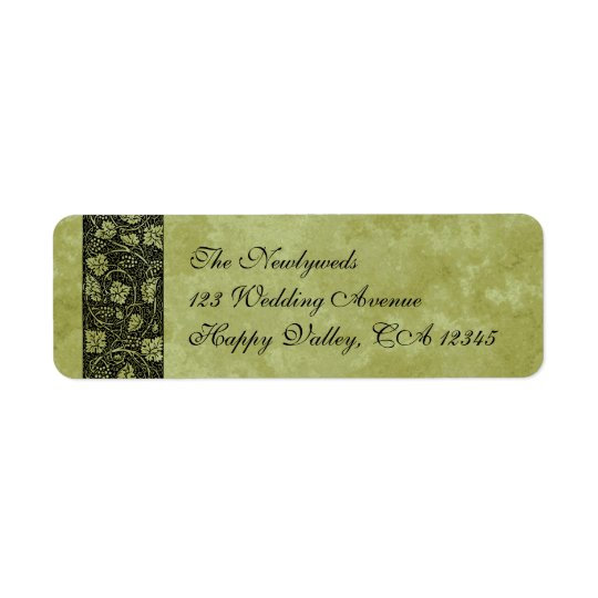 Vintage Wedding, Victorian Grape Vine Leaves Return Address Label